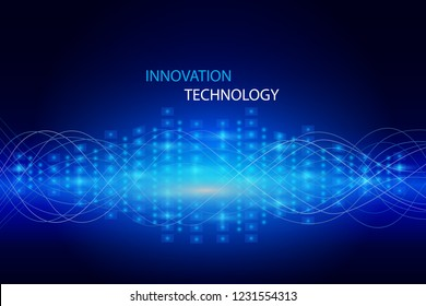 Futuristic communication and digital sound wave. Abstract data and innovation technology background. Vector Illustration.