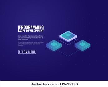 Futuristic computer microchip, server room and data transfer concept isometric vector illustration