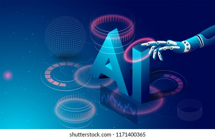 Futuristic concept for artificial intelligence and virtual world. Robotic hand clicking, isometric text AI on digital structure display background.