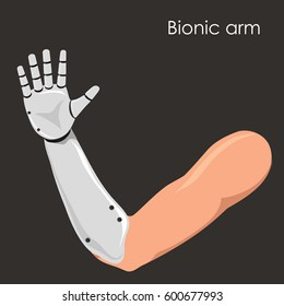 Futuristic concept of bionic arm, robotic mechanical hand. White plastic or polymer material. Prosthesis. Vector isolated illustration.