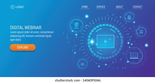 Futuristic concept of Digital Webinar, Online Event, Virtual Seminar, Web cast technology, vector illustration with icons and texts