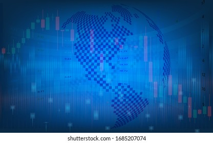 futuristic concept of global economics suitable for world financial technology Economic trends , business or digital network idea and all art work design. Abstract digital background.