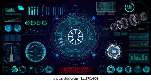 Futuristic concept HUD, GUI style. Screen ( Dashboard, Futuristic Circle, Space Elements, Infographics) Vector Elements Set for HUD Sci Fi Interfaces. Hi tech future design. Sky fi for VR and App.