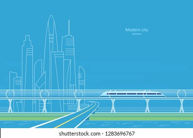 Futuristic concept of magnetic levitation train moving on the skyway in a vacuum tunnel across the city. Modern city transport. Vector illustration