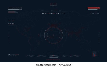 Futuristic concept virtual touch user interface HUD. Vector interactive screen with control panel. Communication concept in HUD style. For infographic elements