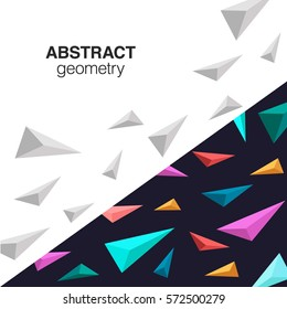 Futuristic contrast composition with colorful orimami style pyramids