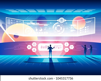 Futuristic control center concept. Modern space technologies. Vector illustration