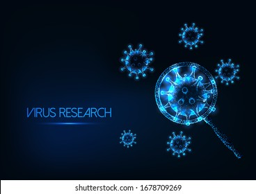 Futuristic coronavirus sars-cov2 research concept with glowing low poly virus cells under magnifying glass on dark blue background. Virology, immunology, microbiology. Modern wireframe mesh design
