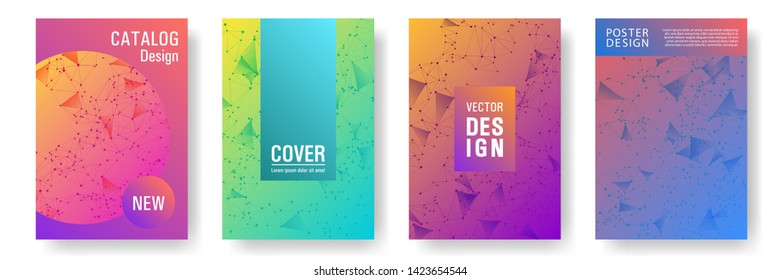 Futuristic cover page layout. Global network connection low poly grid. Interlinked nodes, neuron or big data cloud structure concept. Information technology concept cover.