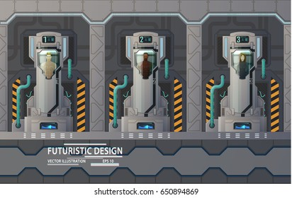 Futuristic cryogenic capsules or containers with humans on spaceship or space shuttle. Science cryonics technology for humans or cryogenic camera with astronaut freezer. Sci-fi spaceman hibernation.