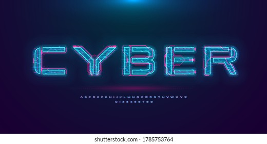 Futuristic cyberpunk hologram font. Modern English alphabet with blue hud neon effect and pink printed circuit board. Good for design promo electronic music events and game titles. Vector