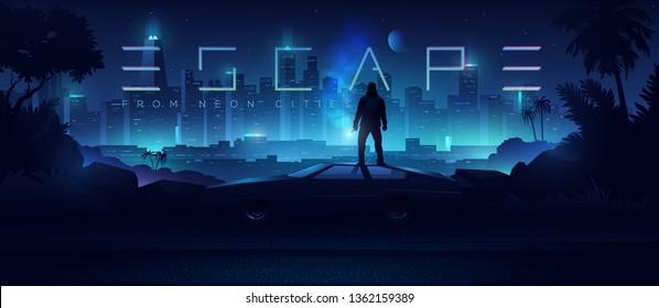 Futuristic cyberpunk illustration. Neon city background. Сar on the background of the shining metropolis