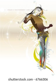 futuristic dancing girl,floral ornaments,vector