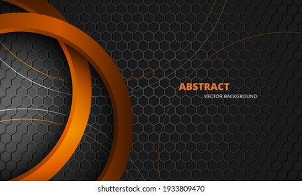 Futuristic dark gray and orange abstract vector background with hexagon carbon fiber. Dark abstract background with honeycomb grid and orange 3d circles. Modern trendy sporty gaming banner.