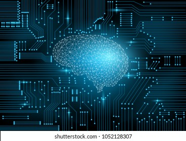 Futuristic design of an Artificial Intelligence brain with circuit board is on learning process and solving problem. Abstract digital and technology background. Vector Illustration.