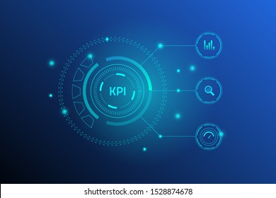 Futuristic design of KPI analytics, Glowing concept KPI isolated on dark background - vector illustration banner  with icons