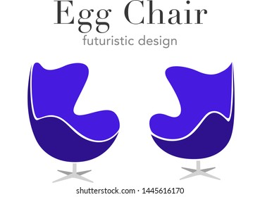 futuristic design Violet the Egg Chair Business sign vector template for office furniture store, home decor, furniture design. Egg shape chair silhouette icon. Corporate web site element. Sampl