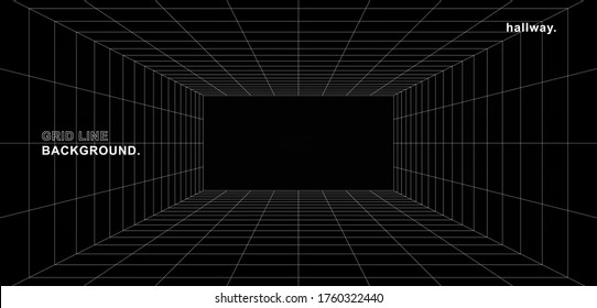 Futuristic digital hallway space blank gray-black color background with white grid space line color surfaces. Cyber, technology, banners, covers, terrain, sci-fi, frames, and related background.