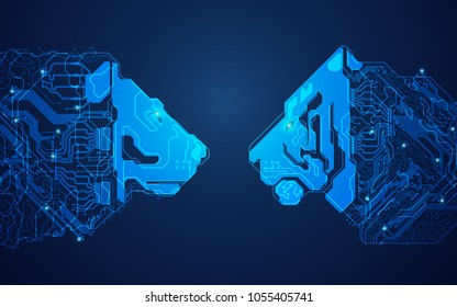 futuristic digital lion versus technological tiger, shape of lion and tiger head combined with electronic board, concept of powerful technology confrontation