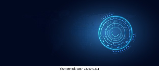 Futuristic digital transformation abstract technology blue background. Artificial intelligence and big data concept. Business growth computer and hacking cyber security theme. Vector illustration
