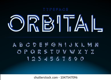 Futuristic display font design, alphabet, character set, typography, letters and numbers