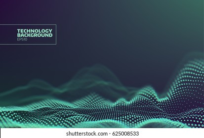 Futuristic dots pattern. Technology vector background. Data visualization. Sound wave