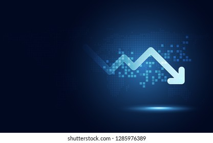 Futuristic drop arrow chart digital transformation abstract technology background. Big data and business growth currency stock and investment economy . Vector illustration