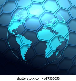 Futuristic earth globe with hexagonal grid. Global Network connection concept. Vector illustration