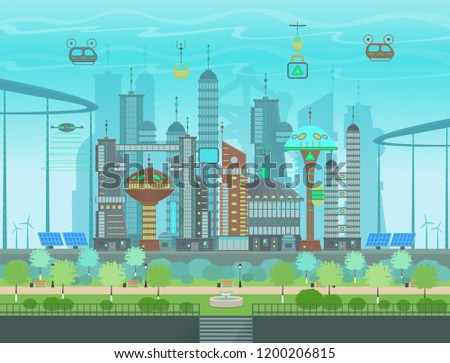Futuristic Eco City In Flat Cartoon Style Panorama Of A Modern With Buildings