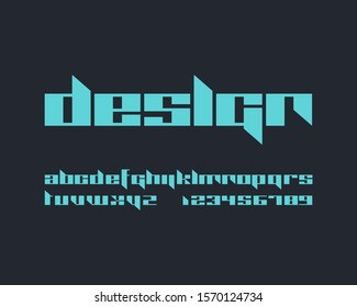 Futuristic edgy font set in vector format