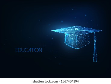 Futuristic education concept with glowing low polygonal graduation hat isolated on dark blue background. Academic study, online learning banner. Modern wire frame mesh design vector illustration.