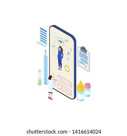 Futuristic ehealth system isometric illustration. Cartoon doctor, physician studying patient health info from smartphone screen. Telemedicine technology. Distant medical consultation service