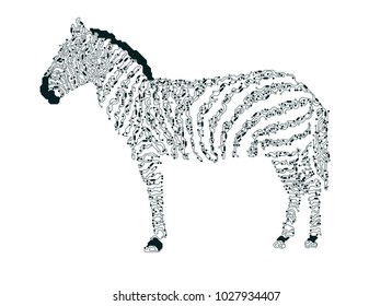 futuristic elctronic horse, shape of zebra combined with electronic board, concept of powerful technology