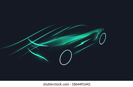 Futuristic electric car silhouette in motion on dark background. EV concept. Green eco transportation concept. Vector illustration
