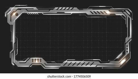 Futuristic Empty Metallic Frame, Iron Border, Steel Surface