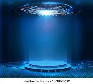 Futuristic empty stage. Modern Future background technology Sci-fi interior concept. Podium for show your product. futuristic cyberpunk concept. Circle presentation podium template for UI, UX, KIT,GUI
