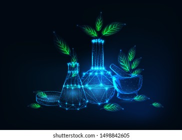 Futuristic environmentally friendly technology concept with glowing low polygonal chemical laboratory equipment and green plants on dark blue background.  Modern wireframe design vector illustration.