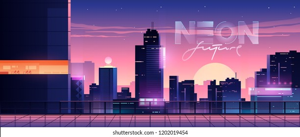 Futuristic evening city. Cityscape on a sunset background with bright and glowing neon purple and blue lights. Cyberpunk and retro wave style illustration.