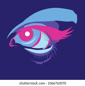 Futuristic eye makeup in ultra violet lighting, close-up, evening colors, magenta pupil, cyan brow line, fish - like. Creative fashion concept, modern art