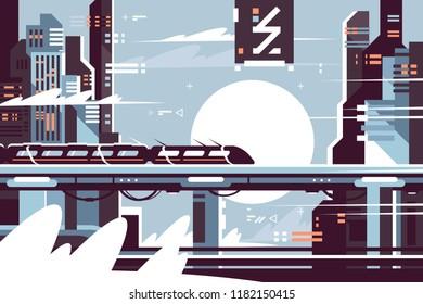 Futuristic fantastic train of future. Concept moving electric train in city. Vector illustration.
