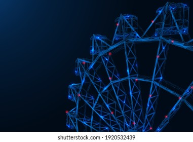 A futuristic Ferris wheel. Polygonal 3D design of the attraction made of interlocked lines and dots. Blue background.