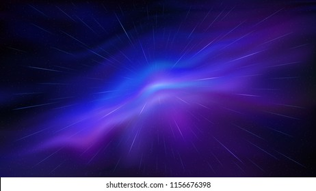 Futuristic flight through the violet and blue interstellar space. Burst of starry trails. Jump through the hyperspace. Scattering of stars. Wavy nebula. Radial meteor shower. Vector Full HD wallpaper.