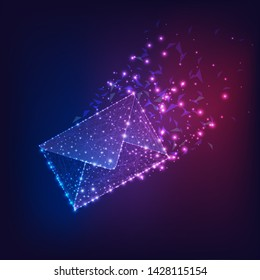 Futuristic flying electronic envelope, email made of lines, stars, dots, low polygonal shapes on dark gradient blue to purple background. Web correspondence concept. Modern design vector illustration.