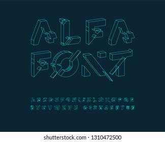 futuristic font set neon