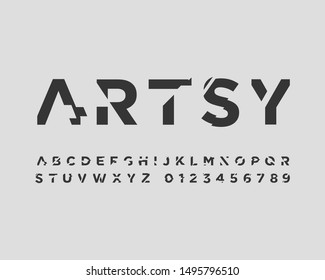 futuristic font set in vector format