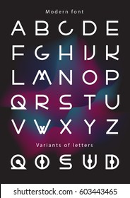 Futuristic font. Youth fashion type. Cosmic Font. Alphabet with variants of letters.Minimal. Pop modern display vector letters.Set of Latin characters numbers