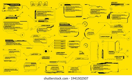 Futuristic footnotes, pointers, isolated on a yellow background. Callouts titles and frame in Sci- Fi style. Bar labels, info call box bars. Futuristic info boxes layout templates.