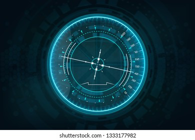 Futuristic gadget in HUD style. Avionics instruments. Futuristic User Interface gadget.  Device tilt level. HUD dashboard interface