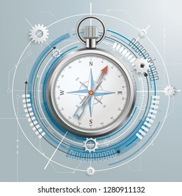 Futuristic gear wheel, compass and electronic schematic on the gray background. Eps 10 vector file.