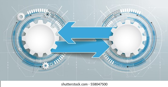 Futuristic gear wheels with and arrows electronic schematicon with banner on the gray background. Eps 10 vector file.
